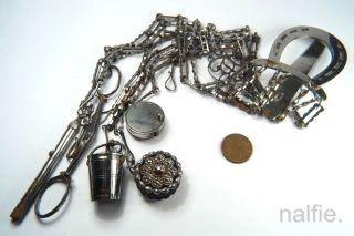 Antique 19th Century Cut Steel Chatelaine W/ Scissors Sewing Thimble Pencil Etc photo