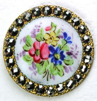 Antique Enamel Button Detailed Hand Painted Flowers W/ Cut Steel Border 1