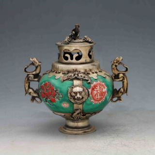 Chinese Antique Porcelain Inlaid Tibetan Silver&monkey Lid Incense Burner X0223 photo