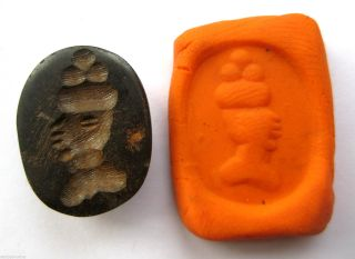 Circa.  400 A.  D Sassanian Empire Zoomorphic Pirite Seal Matrix - Kings Head Detail photo