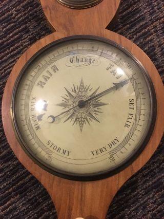 Antique Victorian English Barometer Thermometer Banjo Wood photo