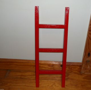 Primitive 2 Foot Wood Decor Red Ladder photo