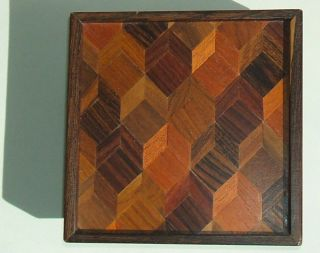 Don S.  Shoemaker Designed Multi - Wood Parquetry Lid Box For Senal,  Mexico photo