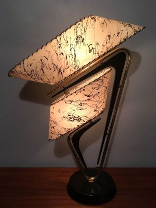 Vtg 1950s Mid Century Retro Atomic Z Majestic Table Lamp W/fiberglass Shades photo