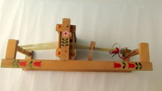 Vintage Old Retro Wooden Weaving Loom Folk Art Toy photo