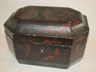 Vintage Chinoiserie Tea Caddy Japanned Black Lacquer Wood Box 2 Lidded Canisters photo
