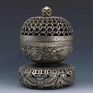 Tibet Silver Hand - Carved Dragon Incense Burner Gd4944 photo