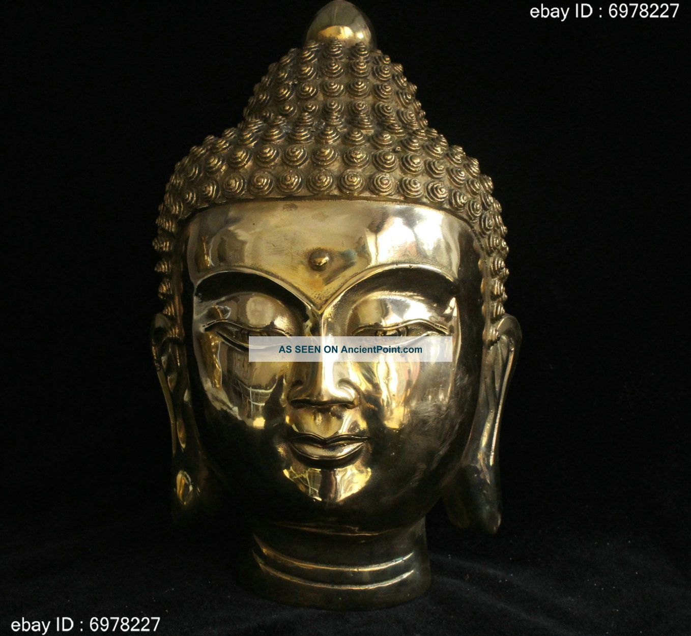 Marked Tibet Buddhism Bronze Brass Lucky Shakyamuni Amitabha Buddha Head Statue Buddha photo