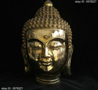 Marked Tibet Buddhism Bronze Brass Lucky Shakyamuni Amitabha Buddha Head Statue photo