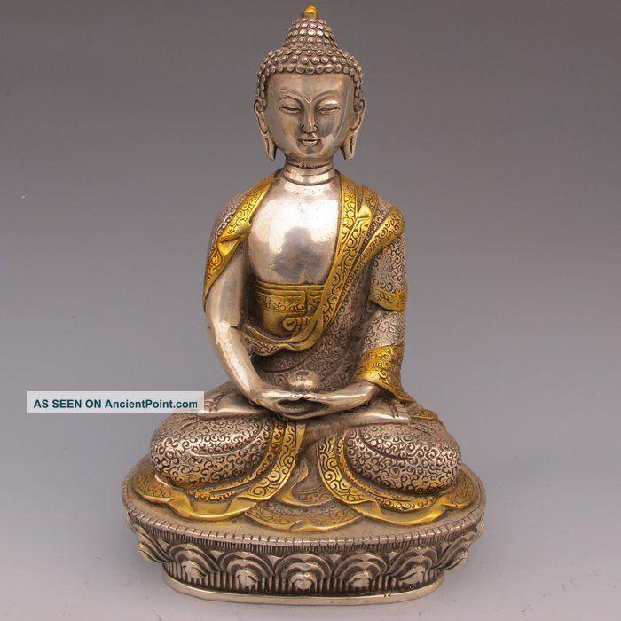 Tibet Silver Copper Gilt Tibetan Buddhism Statue - - Sakyamuni Buddha Buddha photo