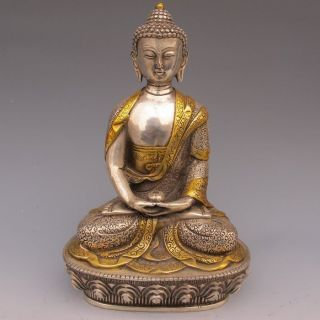 Tibet Silver Copper Gilt Tibetan Buddhism Statue - - Sakyamuni Buddha photo