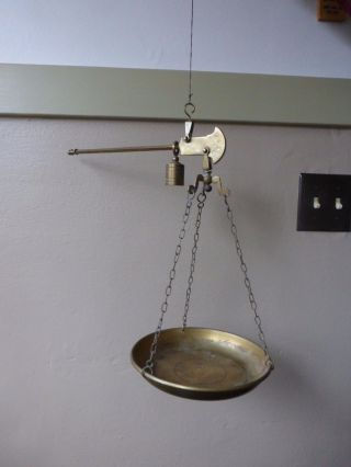 Antique Vtg Brass Single Arm Scale Bismar Weighing Scale Stamped P 500 photo