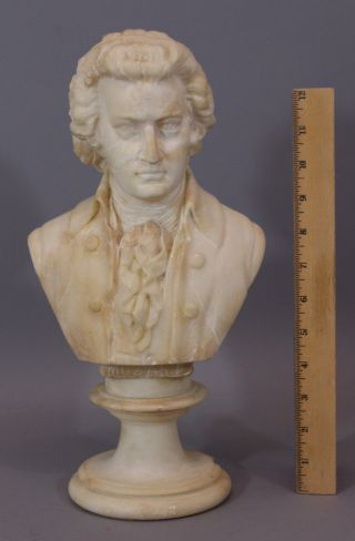 Antique Hand Carved,  Wolfgang Amadeus Mozart Alabaster Stone Bust Sculpture,  Nr photo