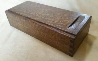 Dovecote Quartersawn White Oak Wood Pencil Box Arts & Crafts Box Joints photo