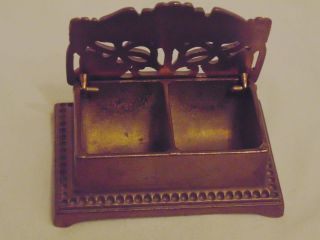 Antique Bronze Floral Art Nouveau Era Divided Postage Stamp Box Desk Accessory photo