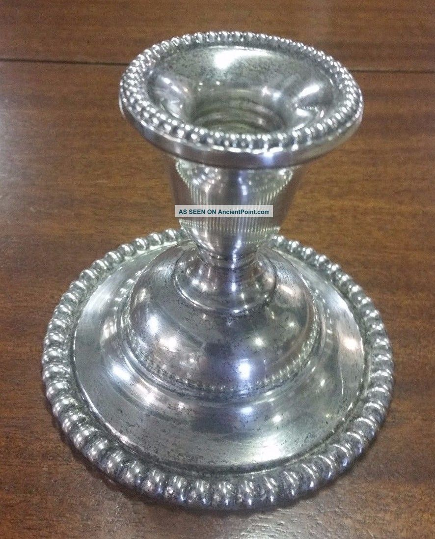 One Vintage Candlewick International Sterling Silver Weighted Candlestick N310 Candlesticks & Candelabra photo