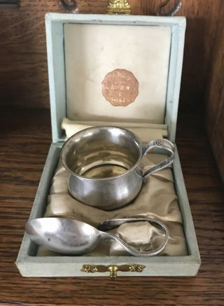 Vintage Sterling Silver Baby Cup,  Curved Spoon photo