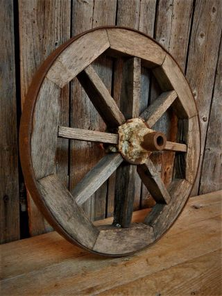 Early Antique Primitive Rustic Old Wooden Spoked Wagon Wheel
