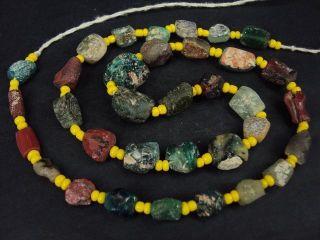 Ancient Fragment Glass Beads Strand Roman 200 Bc 14064 photo