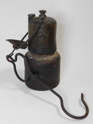 Vintage Iron Lamp From Early 1900 ' S photo