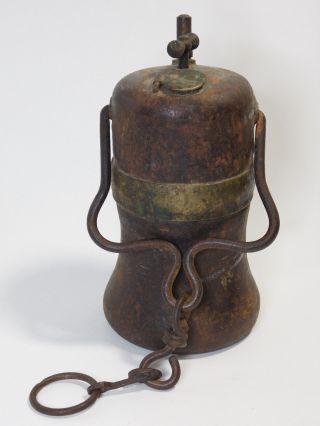 Vintage Cast Iron Lamp From Early 1900 photo