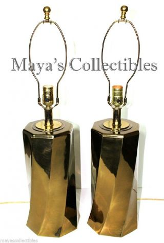Mid Century Pair Lamps Brass Twisted Sculptural Brutalist Style 27