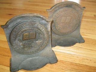 Antique Early 1900s University Of Illinois Copper Metal Bookends - photo