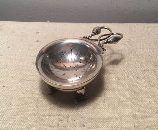 Georg Jensen Denmark Antique Sterling Silver Blossom Tea Strainer & Holder photo