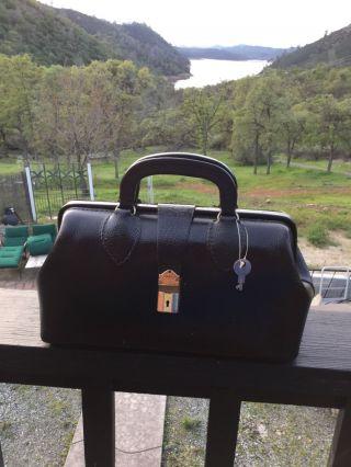 Doctors Medical Black Leather Satchel Bag Schell.  Steampunk Look photo
