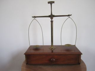 Antique Brass Jewelry/gold Balance Beam Scale Portable Wood Box,  Weights photo