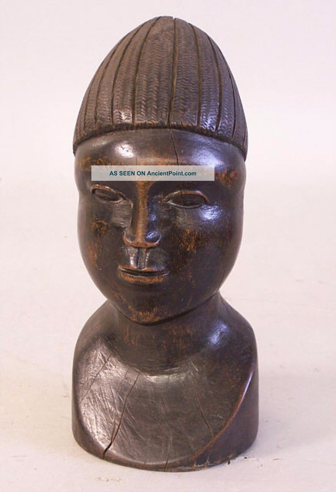 African Carved Wood Head Sculpture C1950 Sculptures & Statues photo