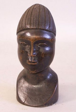 African Carved Wood Head Sculpture C1950 photo