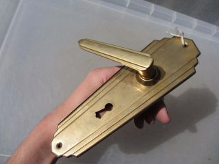 Brass Lever Door Handle Vintage Art Deco Style Repro Architectural photo