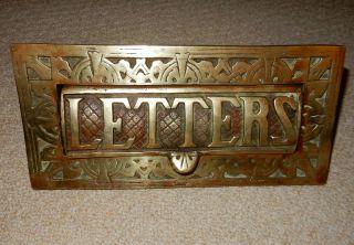 Vtg Cast Brass Letter Box Door Post Slot Architectural Victorian Antique Style photo