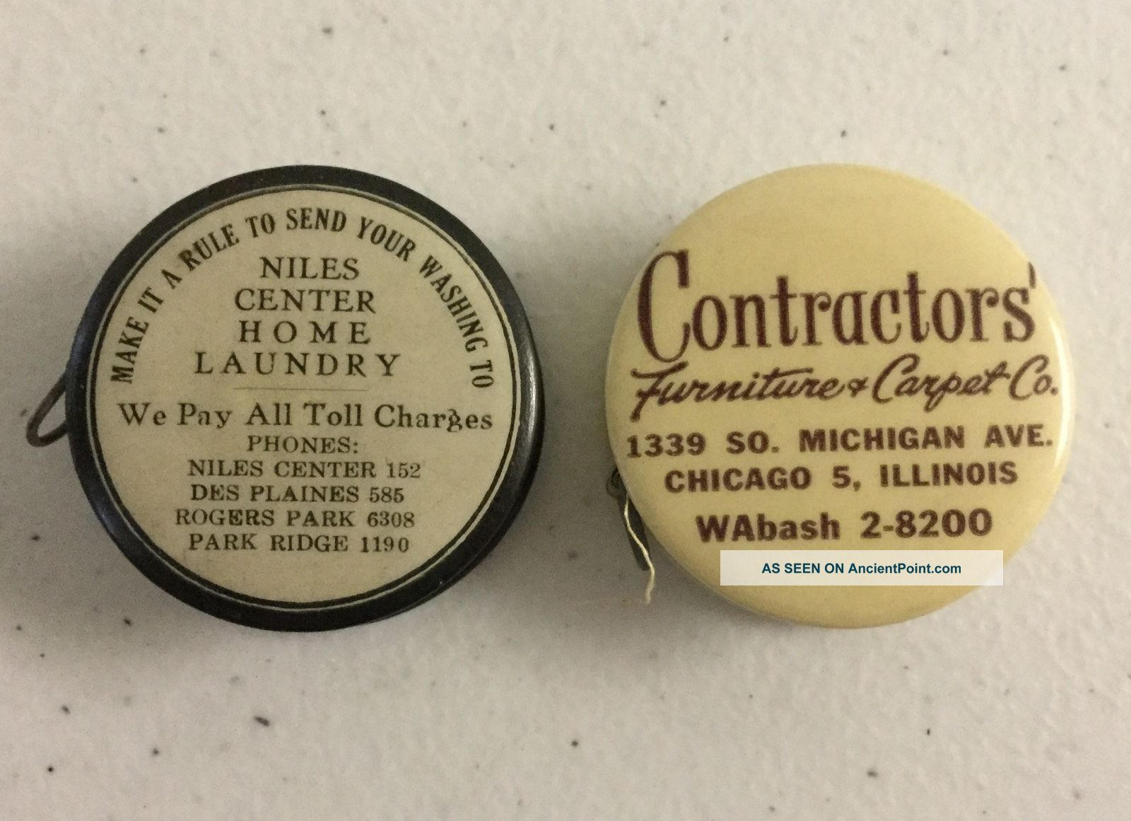 2 Antique Celluloid Sewing Tape Measure W/ Chicago Advertising & Drink Mixes Tools, Scissors & Measures photo