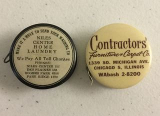 2 Antique Celluloid Sewing Tape Measure W/ Chicago Advertising & Drink Mixes photo