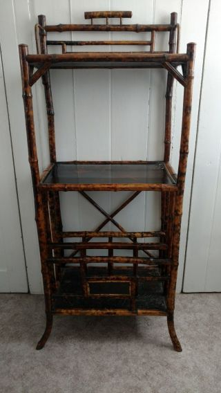 Solid Antique English Tortoise Bamboo Bookcase Plant Stand Asian Birds Floral photo