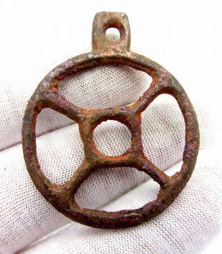 Roman Bronze Wheel Of Fortune Amulet - Ancient Wearable Artifact - D322 photo