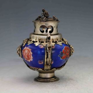Chinese Antique Porcelain Inlaid Tibetan Silver&monkey Lid Incense Burner photo