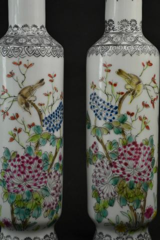 Old Porcelain Drawing Flower & Look At Each Other Bird Rare Lucky Pair Vase photo
