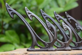 5 Elegant Art Nouveau Style Cast Iron Coat Hooks Hook Knobs Hall Pegs Rack Stand photo