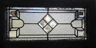 Antique American Stained Glass Transom Window Bevels 28 X 14 Salvage photo