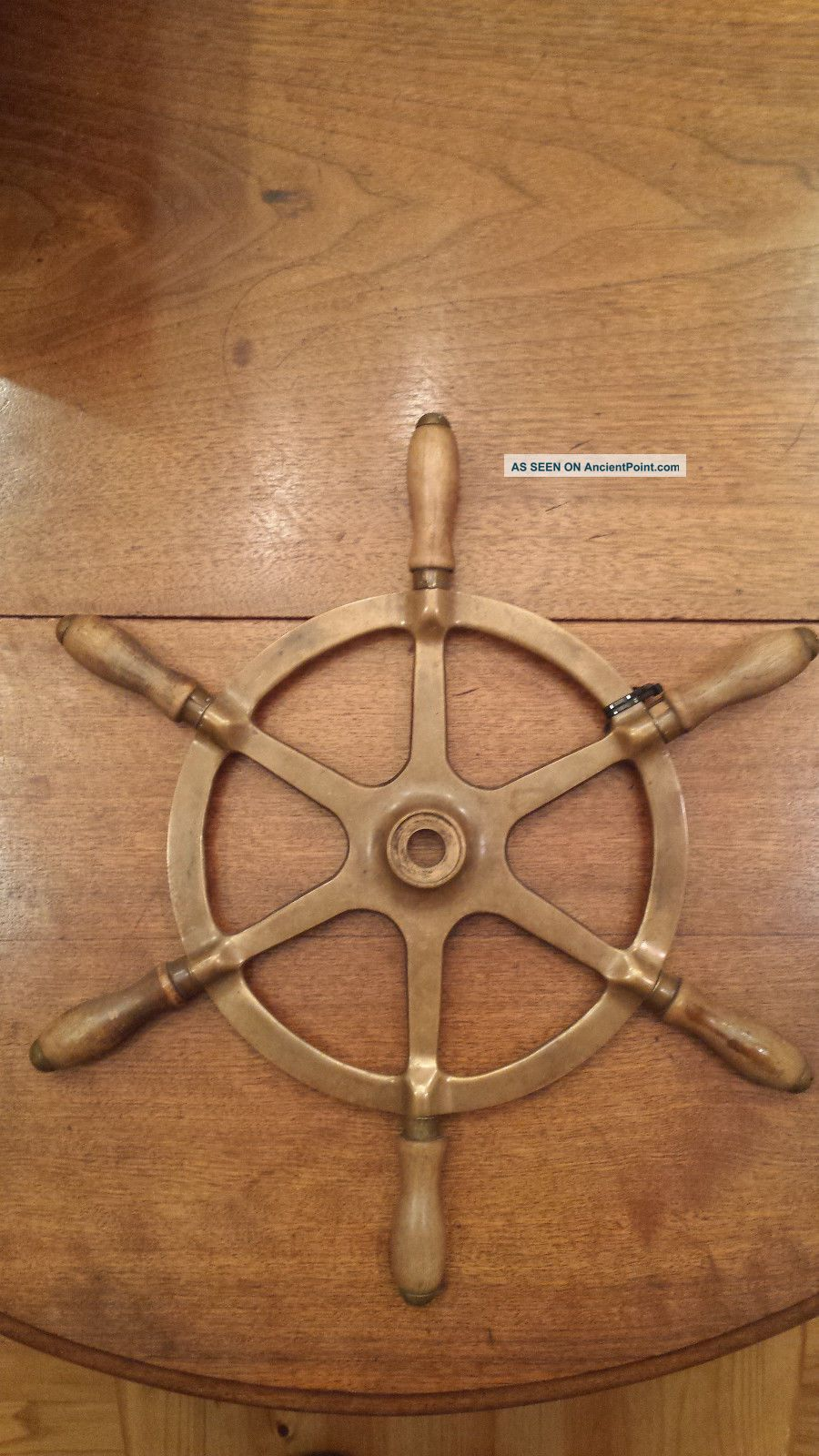 Antique Cast Brass Ship ' S Wheel Wheels photo
