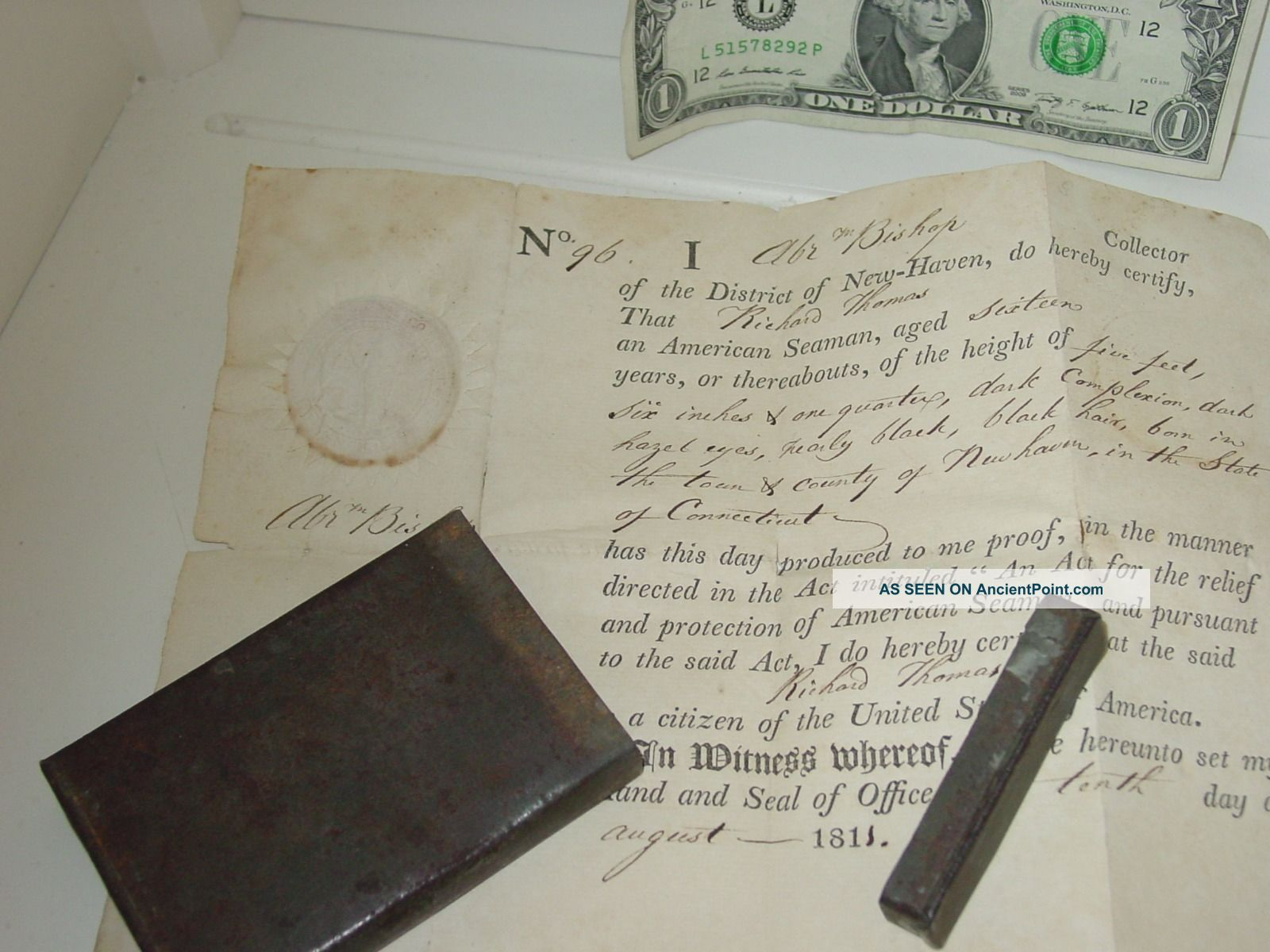 1811 Seaman ' S Papers Haven Ct Maritime History:protection Of American Seamen Other Maritime Antiques photo