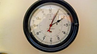 Chelsea / M.  Low Ww2 10 1/2 Inch 12/24 Hour U.  S Government Bulkhead Clock photo