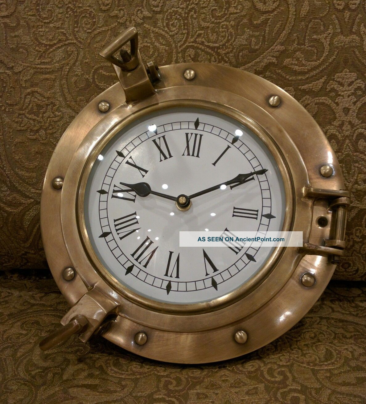 Solid Brass Ships Porthole Wall Clock Maritime Ship ' S Nautical Beach House Decor Clocks photo