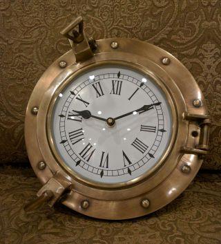 Solid Brass Ships Porthole Wall Clock Maritime Ship ' S Nautical Beach House Decor photo