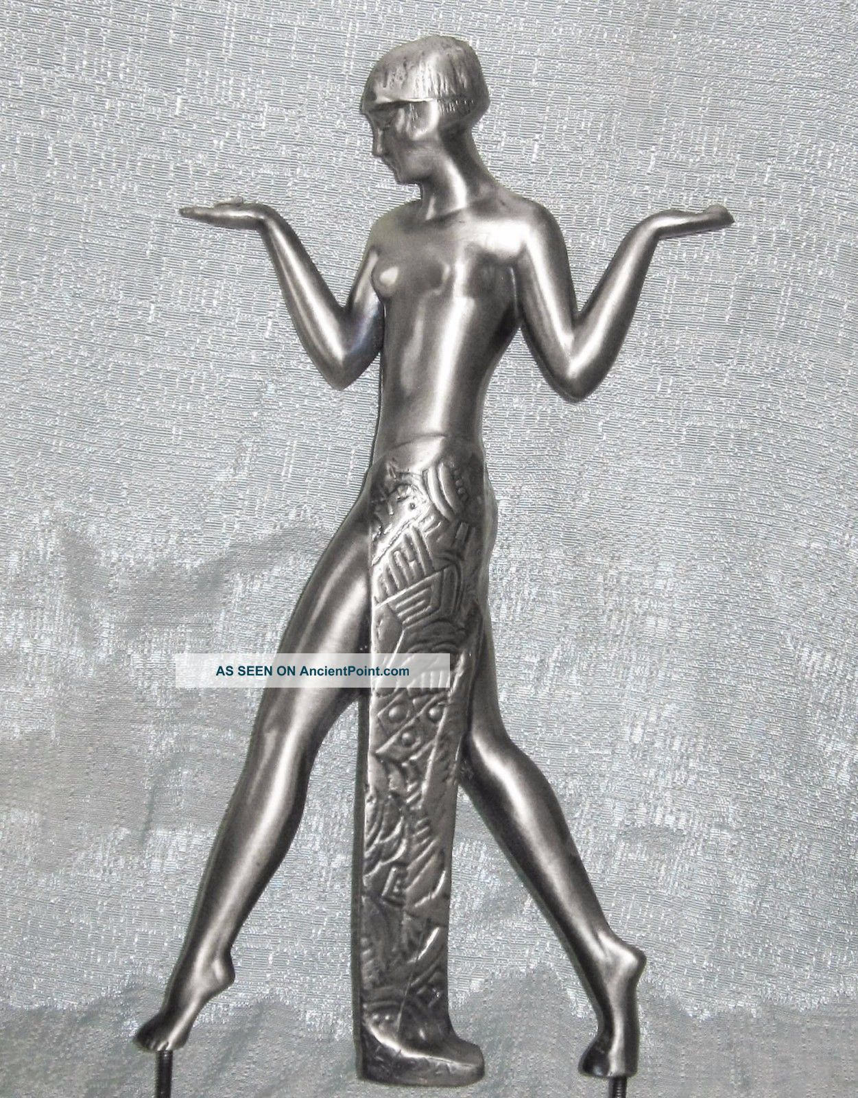 Guerbe Max Le Verrier Lamp Casting Aluminum Art Deco Egyptian Lamp Usa Art Deco photo
