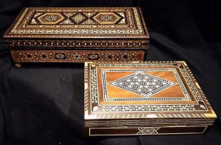 A Ottoman Wood Trinket/playing Cards/cigarette Music Box Mosaic 1 Song photo