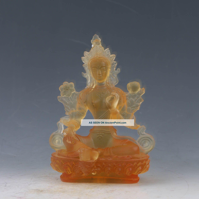 Chinese Glazed Hand - Carved Transparent Yellow Buddha Statue Xz314 Buddha photo